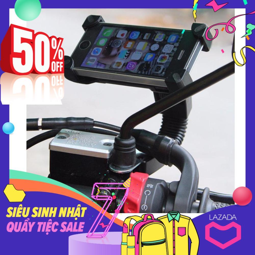 Giá đỡ điện thoại kẹp 4 góc gắn kính chiếu hậu xe máy Giá đỡ điện thoại xe máy có cổng sạc usb – Loại chất lượng