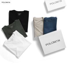 Áo thun nam cổ tròn POLOMAN vải Cotton co giãn,dày dặn, form slim fit