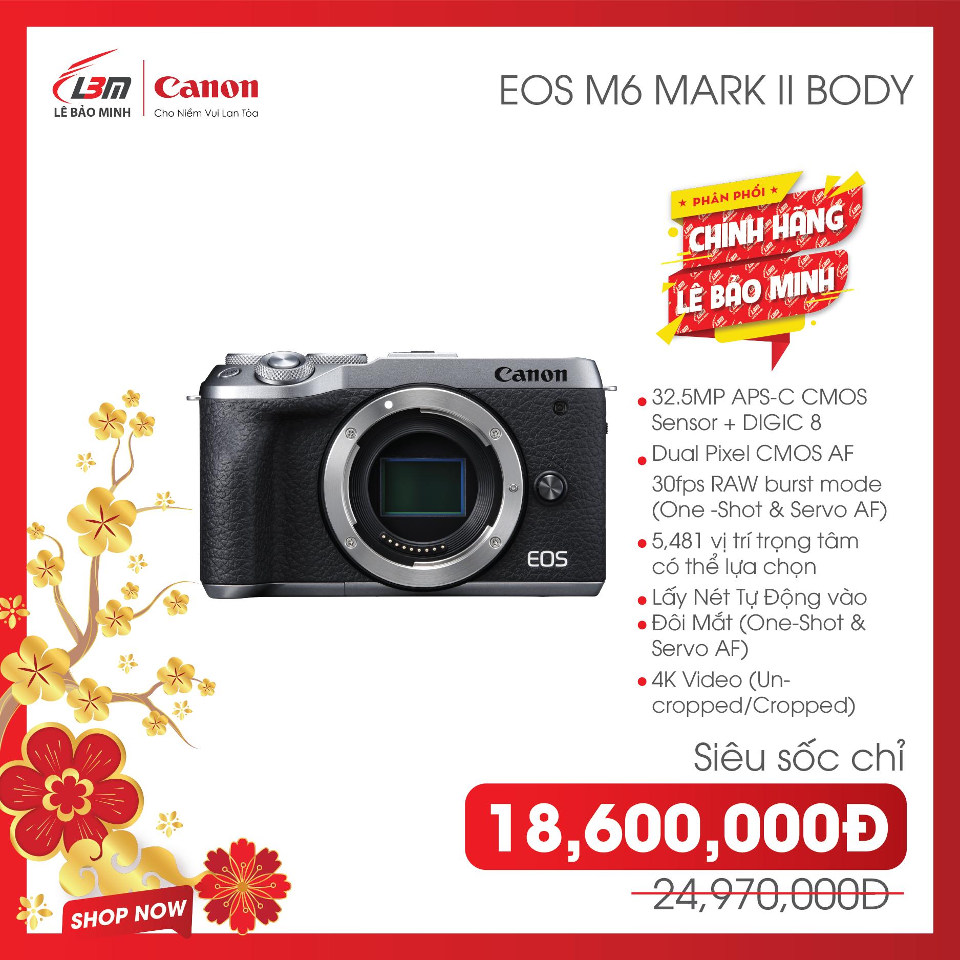 [Trả góp 0%][VOUCHER 1,540K] Máy Ảnh Canon EOS M6 Mark II Body – Hàng Chính Hãng Lê Bảo Minh