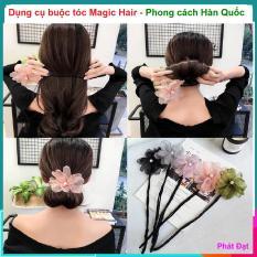 (Có video hướng dẫn buộc tóc) Dụng cụ buộc tóc Magic Hair – Dây buộc tóc – phụ kiện chăm sóc tóc cho phụ nữ, Thanh búi tóc kèm nơ hoa độc đáo
