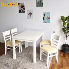 Bộ bàn ăn cabin 4 ghế trắng – Twin Home