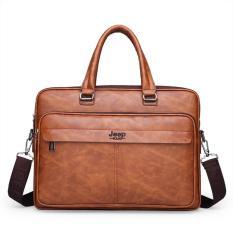 Túi xách cặp da đựng laptop da bò công sở JEEP BULUO T25 (Nâu đậm-Nâu sáng-Đen)