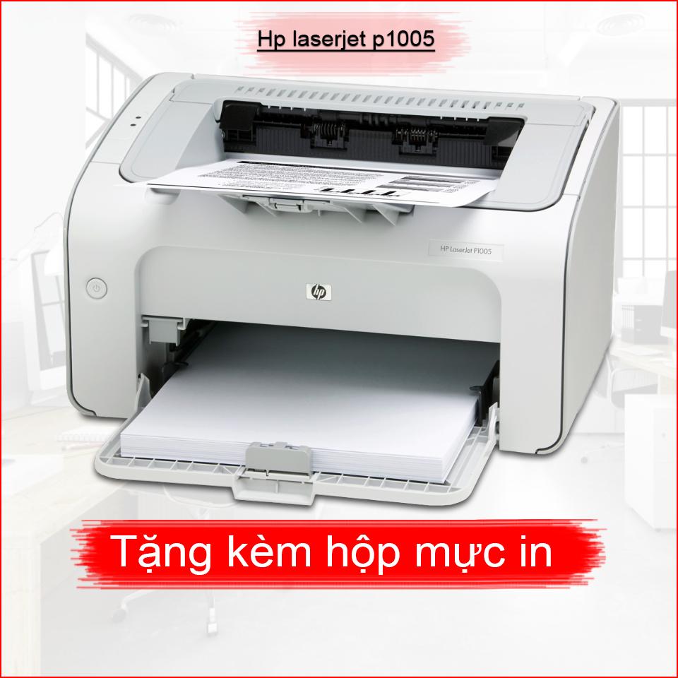 Máy in HP laserjet p1005 Bản in sắc nét – tặng kèm hộp mực, dây nguồn, dây USB