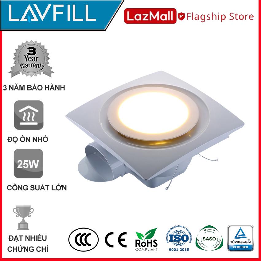 Quạt thông gió âm trần 250X250 mm ĐÈN LED, Quạt hút âm trần nhà tắm, phòng vệ sinh với ĐÈN LED kết hợp 2 trong 1, dễ vệ sinh lau chùi, không bám bẩn, không ồn hãng LAVFILL LFCV-12DL