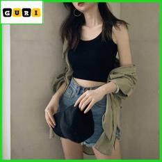 Áo croptop nữ kiểu 2 dây ôm body sang trọng, Croptop nữ ôm màu trắng đen chất len đẹp thời trang cao cấp GURI mã AK09
