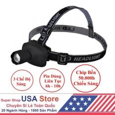 Đèn Pin Đội Đầu – Chip Led Siêu Sáng – 3 Chế Độ Sáng USA Store (Đen)