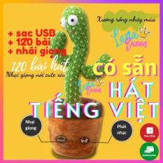 Cây xương rồng nhảy múa hát Tiếng Việt – đồ chơi nhồi bông biết nói, nhại giọng, sạc usb – quà tặng cho bé – LANA QUEEN