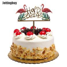 Jettingbuy WXGR Long Lanh Vàng Acrylic Flamingo Happy Birthday Cake Topper Đảng Trang Trí Diy