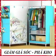 [ĐƯỢC CHỌN MẪU- CAM KẾT Y HÌNH] Tủ vải đựng quần áo cao cấp kiểu dáng 3D 1 buồng 2 ngăn, tủ vải khung inox treo quần áo nhỏ gọn tiện dụng hơn tủ gỗ, tủ nhựa – MBDOAN01