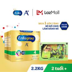 Hộp sữa bột Enfagrow A+ 4 2.2kg (4 túi thiếc 550g) + Tặng 1 bộ đồ chơi làm bánh mì