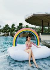 Phao Bơi Mây Cầu Vồng 245cm-Phao Người Lớn,Phao Trẻ Em Kèm Bơm Điện + Phao Mini