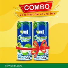 Combo 02 lon Nước Dừa Có Cơm Vinut tươi mát