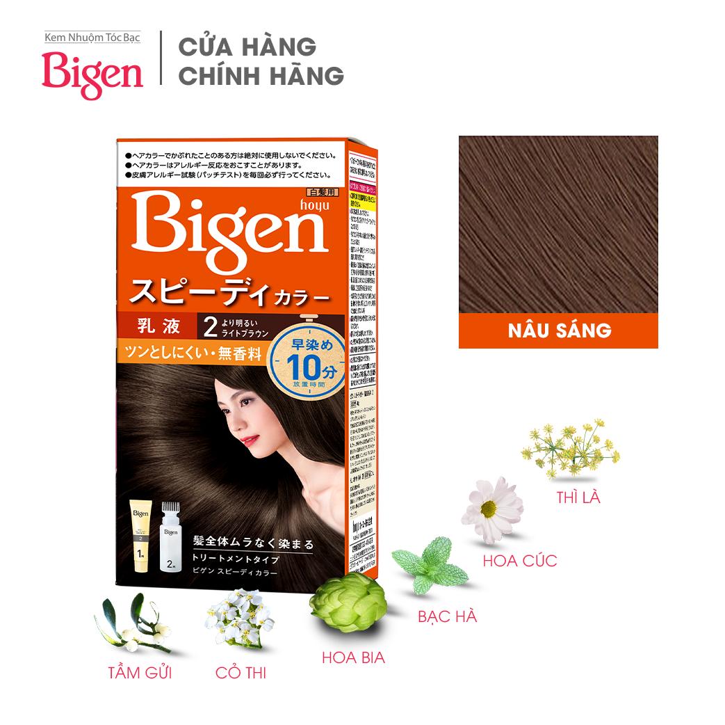 Thuốc nhuộm dưỡng tóc phủ bạc thảo dược Bigen Nhập Khẩu 100% Nhật Bản Speedy Color Milky 80ml dạng kem