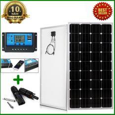 Tấm Pin năng lượng mặt trời đơn tinh thể Mono 150W tặng điều khiển sạc 30A 12V/24V LCD (công suất 360w) + jack MC4