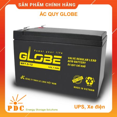 Ắc quy khô Globe 12V-7.5Ah dùng cho UPS, Cửa Cuốn