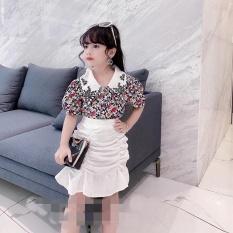 Bộ quần áo bé gái size đại, sét áo thô lụa và chân váy đũi bé gái từ 20kg đến 35kg