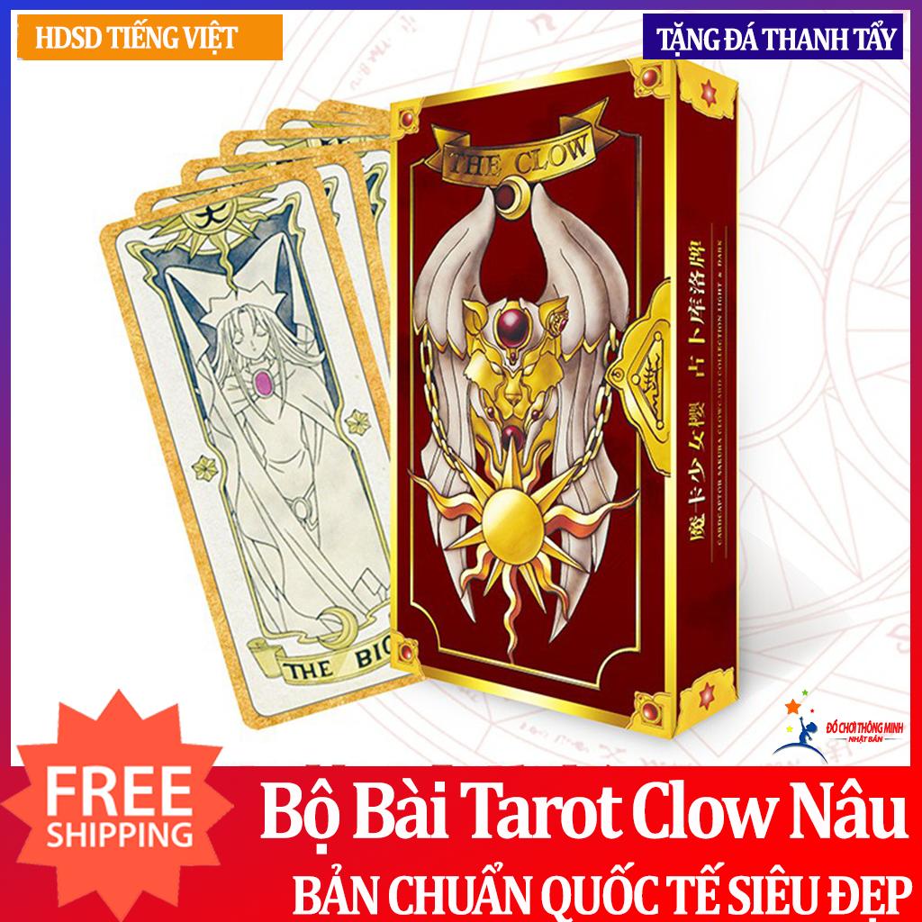 Bài Tarot Clow card/Cardcaptor Sakura/KINOMOTO SAKURA Phiên Bản Màu Nâu Tặng Đá Thanh Tẩy