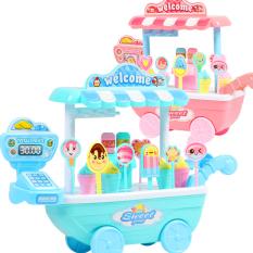 Bộ đồ chơi xe kem mini đáng yêu kèm xe đẩy bán hàng có máy tính tiền bằng nhựa nguyên sinh ABS an toàn cho bé yêu BBShine – DC047