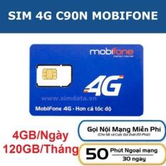 Sim 4G MobiFone C90N 120GB/tháng (4 GB/ngày + 1000 phút nội mạng + 50 phút liên mạng)