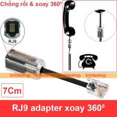 Đầu đổi jack RJ9 đực ra RJ9 cái cho Tai nghe Micro Điện thoại bàn – Dây chống rối nối cổng Micro Tai nghe cho điện thoại bàn xoay 360 độ 7Cm