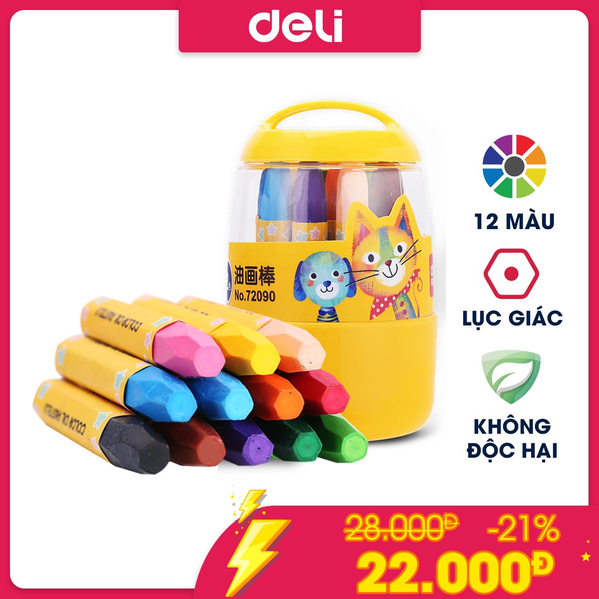Bút sáp dầu học sinh hộp nhựa Deli – 12/18/24 màu – 72090/72091/72092