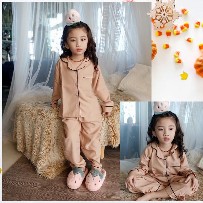 đồ bộ pijama cho bé trai và bé gái vải kate lụa không bóng 0193
