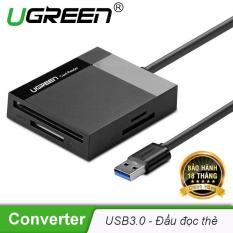 Đầu đọc thẻ USB 3.0 hỗ trợ thẻ TF/SD/CF/MS dài 0.5m UGREEN CR125 30229 – Hãng phân phối chính thức