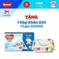 Tã dán Huggies Dry size S 56 miếng ( Tặng 1 gói Khăn Uớt 3Ok) (cho bé 4 – 8kg) – HSD luôn mới