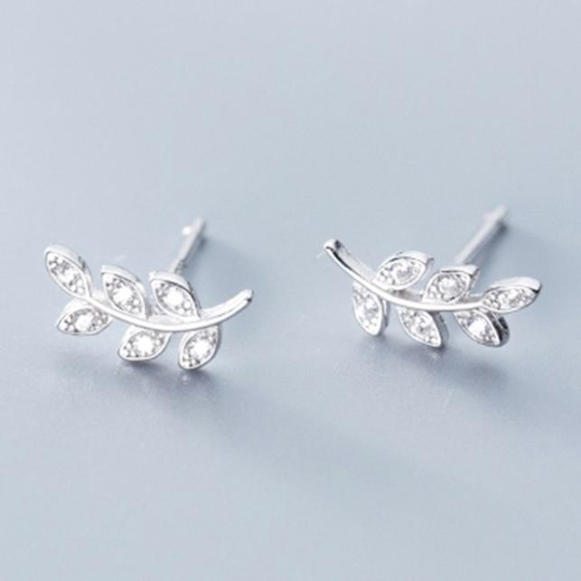Bông Tai Bạc Nữ | Bông Tai Bạc ITALY S925 | Bông Tai Bạc Nhành Lá Cây Đính Đá – B2522 – Bảo Ngọc Jewelry