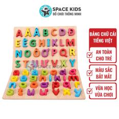 Đồ chơi gỗ Bảng chữ cái tiếng việt bằng gỗ cho trẻ em học chữ cái Space Kids