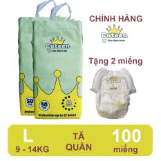 [Free ship + tặng 2 miếng] Tã/ bỉm quần Cuteen size L 100 miếng (9-14kg) siêu mỏng, siêu mềm, không hăm da
