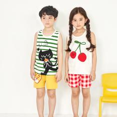 Bộ đồ ba lỗ Unifriend Hàn Quốc Uni2102 cho bé gái, bé trai 1-10 tuổi, vải cotton organic Korea-Chính hãng
