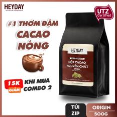 Bột cacao nguyên chất không đường Heyday – Origin 18% bơ cacao tự nhiên – Túi Zip 500g – Chứng nhận UTZ – Hỗ trợ giảm cân – Keto – Vị socola nguyên bản – Không hương liệu, phụ gia