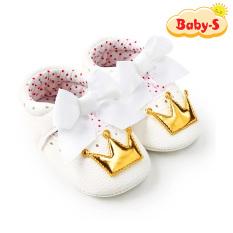Giày tập đi công chúa cho bé gái 0-18 tháng tuổi lót da mềm êm chân không làm đau bé họa tiết vương miện phối nơ đáng yêu Baby-S – STD3