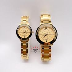 Cặp Đồng hồ đôi nam nữ HALEI dây kim loại thời thượng ( HL457 dây vàng mặt vàng ) – TẶNG 1 vòng tỳ hưu phong thuỷ