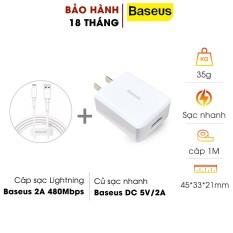 Bộ cốc cáp sạc chuẩn lightning Baseus sạc cho iphone CCDX-A02 max 2A – dây dài 1m truyền dữ liệu (Trắng) HÀNG CHÍNH HÃNG hshop365 abshop365 abshop hshop
