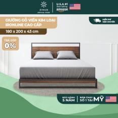 [FREESHIP MỌI ĐƠN]Giường gỗ Zinus viền khung kim loại/ Ironline Hybrid Frame King 180x200x35cm