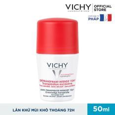 Lăn khử mùi giúp khô thoáng vùng da dưới cánh tay 72h Vichy Detransprirant Intensif 72h Transpiration Excessive 50ml