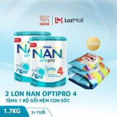 [FREESHIP] Bộ 2 lon sữa bột Nestle NAN Optipro 4 HM-O 1.7kg cho trẻ trên 2 tuổi 1.7kg + Tặng 1 bộ gối nệm con sóc trị giá 400K – Cam kết HSD còn ít nhất 10 tháng