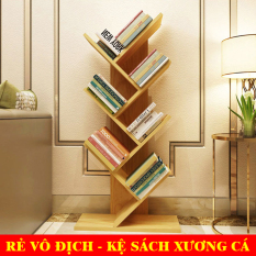[ RẺ VÔ ĐỊCH ] Kệ Sách Xương Cá, Giá Sách, Kệ Sách Gỗ 7 Tầng – Lắp ráp dễ dàng, độ bền cao
