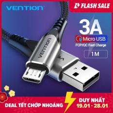 Vention cáp sạc nhanh Micro USB 3A Nylon dây sạc điện thoại Micro USB 1M 2M 3M for Samsung Xiaomi Oppo LG Tablet Android Mobile Phone dây sạc nhanh Micro USB