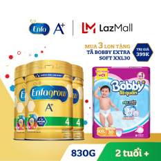 Bộ 3 lon sữa bột Enfagrow 4 cho trẻ trên 2 tuổi 830g + Tặng 1 tã Bobby XXL30 – Cam kết HSD còn ít nhất 10 tháng