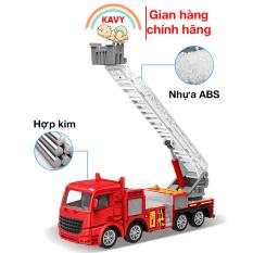Đồ chơi cho bé mô hình xe cứu hỏa thang trượt, hợp kim sắt và nhựa, chi tiết sắc sảo, khớp chuyển động -KAVY