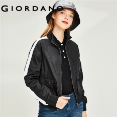 Giordano Women Jackets Soft Stand Collar Zip Front Contrast Raglan Sleeves Jackets Pockets Design Jackets Free Shipping 13370806