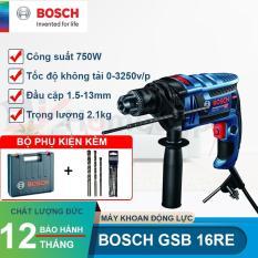 Máy khoan động lực Bosch GSB 16 RE 750W (Xanh đen) + TẶNG 3 MŨI KHOAN BOSCH