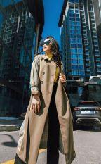 Áo Măng Tô Đai Tay Kẻ Phối CChat Clothes