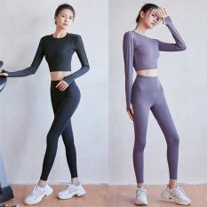 bộ quần áo tập gym yoga tay dài 3D nâng mông tôn dáng LM02