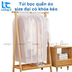 Túi đựng quần áo chống bụi Living C T149, Túi bọc quần áo chống bụi bẩn nấm mốc size lớn có khóa kéo chất vải dày chống thấm nước