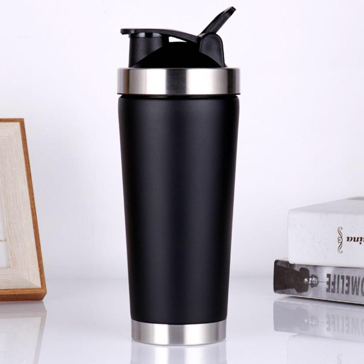 Bình Lắc Shaker Inox Màu Bạc Đen – Bình Lắc Tập Gym Chính Hãng Amalife – Kèm Bóng Lò Xo Lắc