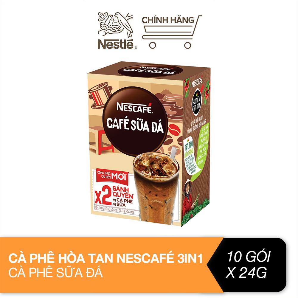 Cà phê hòa tan Nescafé 3in1 cà phê sữa đá (Hộp 10 gói x 24g)
